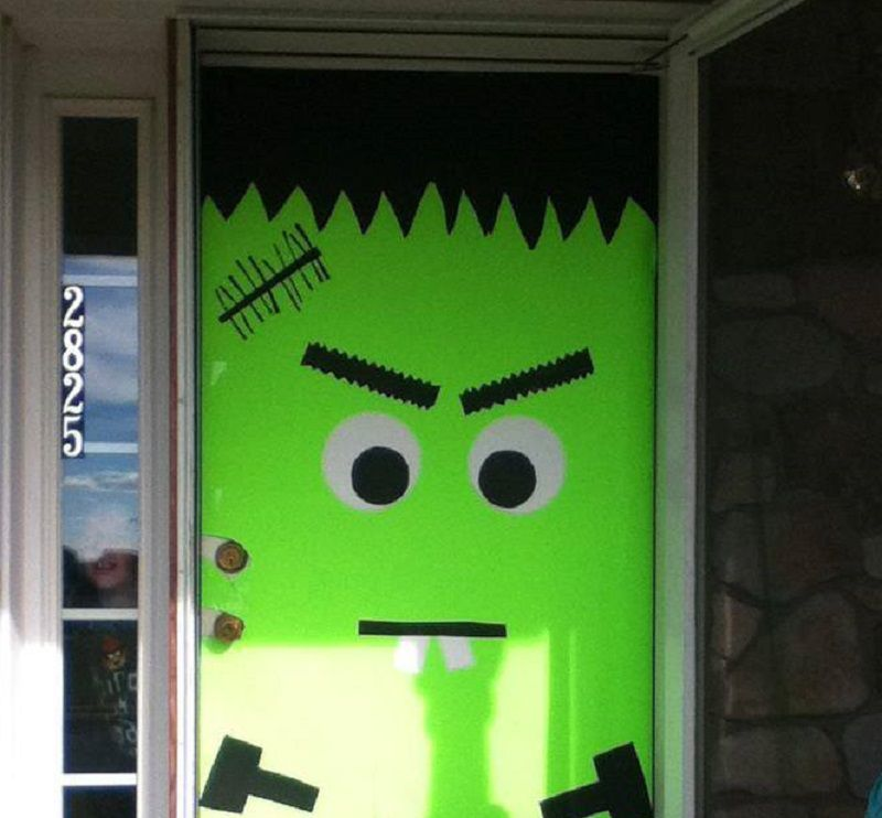 Frankenstein door \u2013 large sheets of green paper and cut outs of eyes stitches hair and hands cut out of poster board & DIY: Halloween Edition \u2013 The Witness